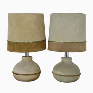 Leather Table Lamps, 1970s, Set of 2