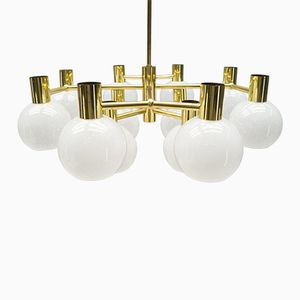 Large Opal Glass and Brass Chandelier, 1960s