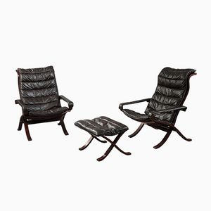 Safari Armchairs and Ottoman by Ingmar Relling for Westnofa, 1960s, Set of 3