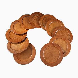 Scandinavian Plates in Teak, 1960s, Set of 11