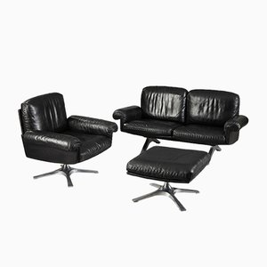 DS 31 Sofa, Swivel Lounge Armchair and Ottoman from de Sede, 1970s, Set of 3