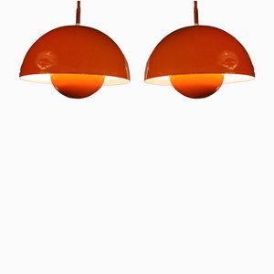 Vintage Flowerpot Hanging Lamps by Verner Panton for Louis Poulsen, Set of 2