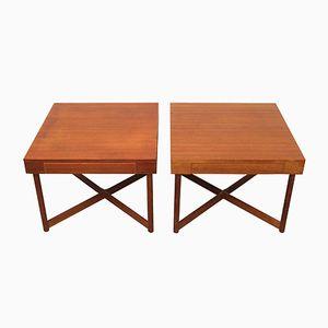 Danish Teak Square Coffee Tables, 1960s, Set of 2