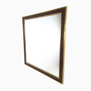 Italian Brass and Briar-Root Wall Mirror, 1970s