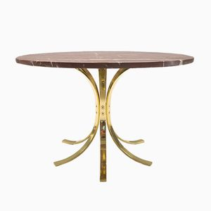 Red Marble Table on Golden Flat Steel Frame, 1960s