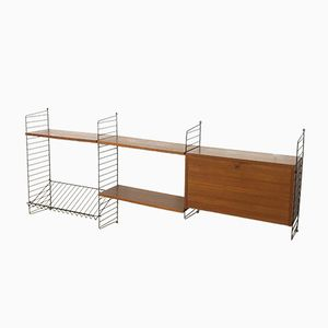 Wall Unit in Teak with Cabinet by Nisse Strinning for String Design AB, 1960s
