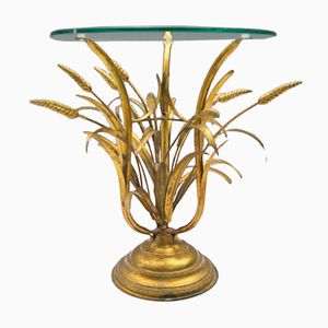 Hollywood Regency Wheat Sheaf Side Table in Gold, 1960s
