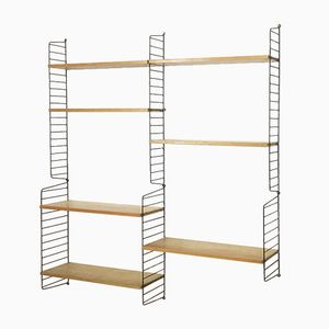 Swedish Ash Wood Wall Unit by Nisse Strinning for String, 1960s