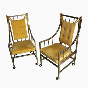 Italian Brass-Plated Armchairs, 1960s, Set of 2