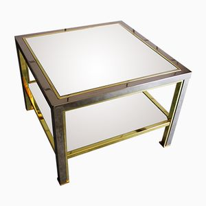 Vintage Square Brass Chrome Coffee Table with Cut Glass Top, 1980s