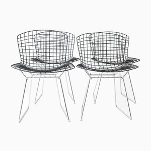 Vintage Wire Chairs with Black Seats & Chromed Bases by Harry Bertoia for Knoll, Set of 4