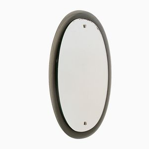 Italian Oval Mirror with Smoked Glass Frame