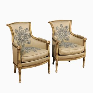 French Golden Lacquered Armchairs, Set of 2