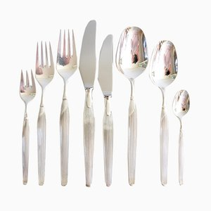 Vintage Silver Plated Savoy Cutlery by Henning Seidelin for Frigast, 1960s, Set of 48