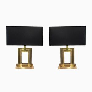 Italian Geometric Brass Table Lamps, 1970s, Set of 2