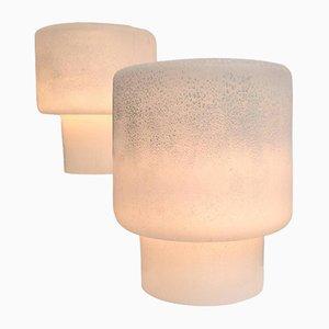 Lampes de Bureau en Verre de Murano Rondes par Alfredo Barbini, 1970s, Set de 2