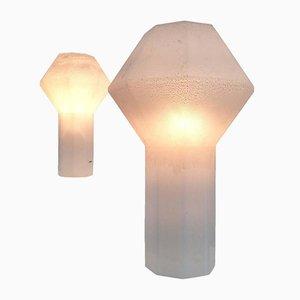 Grande & Petite Lampes de Bureau en Verre de Murano par Alfredo Barbini, 1970s, Set de 2