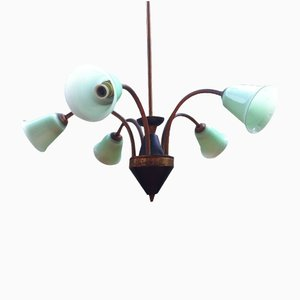 Italian Brass & Green Opaline Glass Chandelier, 1950s