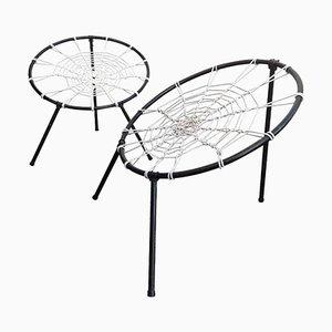 Französische Plan Stühle mit Netz Sitzen von Hoffer, 1958, 2er Set