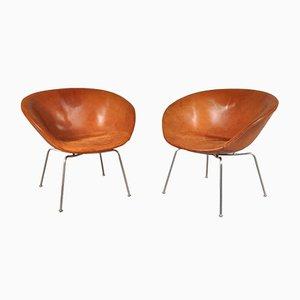 Dänische Pot Stühle von Arne Jacobsen für Fritz Hansen, 1950er, 2er Set