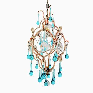Mid-Century French Murano Glass Drops Chandelier