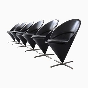 Vintage Cone Chairs in Black Leather by Verner Panton for Gebrüder Nehl, Set of 6