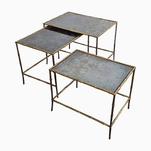 Side Tables with Bamboo Legs from Maison Bagues, 1960s