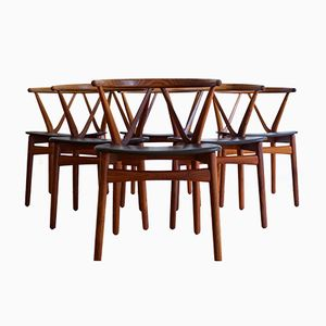 Rosewood Chairs by Henning Kjærnulf for Bruno Hansen, 1960s, Set of 6