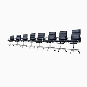 Chaises de Bureau EA 219 Rembourrées en Cuir & Aluminium par Charles & Ray Eames pour Vitra, Set de 8