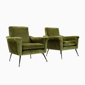 Italian Mid-Century Green Armchairs, 1950s, Set of 2