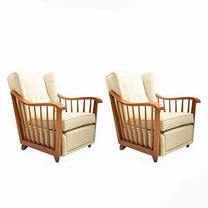 Italian Solid Walnut Armchairs by Paolo Buffa, 1940s, Set of 2