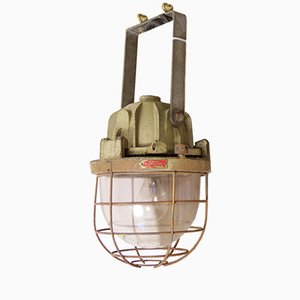 Vintage Industrial Cage Lamp from Mapelec