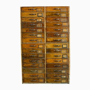 Vintage Numbered Filing Chest in Solid Wood, 1920s