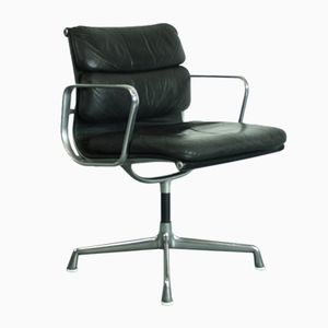 Vintage Black Soft Pad Chair in Leather by Charles & Ray Eames for Herman Miller