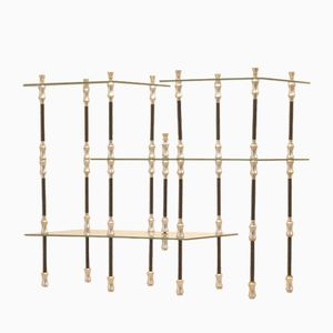 French Mid-Century Glass and Metal Bamboo Stemmed Stand