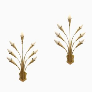 Italian Mid-Century Bouquet Brass and White Wall Sconces, Set of 2
