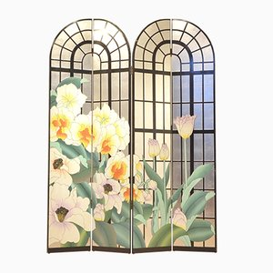Mid-Century Multicolor Painted Floral Room Divider or Paravan