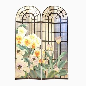 Paravent Mid-Century Peint Multicolore Floral