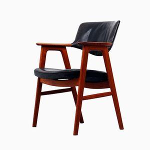 Vintage Teak and Leather Desk Armchair by Erik Kirkegaard for Høng Stolefabrik