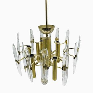 Brass Modernist Chandelier by Gaetano Sciolari, 1960s