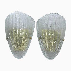 Mid-Century Murano Glas und Messing Wandlampen, 1960er, 2er Set
