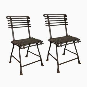 Antike Französische Schmiedeeiserne Stühle von Arras, 1880er, 2er Set