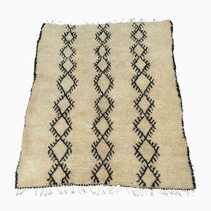 Vintage Moroccan White Beni Ouarain Carpet