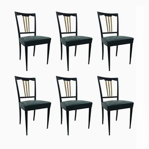 Art Deco Black and Gold Dining Chairs, 1930s, Set of 6