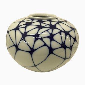 Weiß-Blaue Vase von Enzo Mari für KPM, 2003