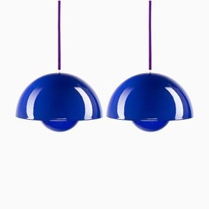 Flower Pot Pendants in Blue by Verner Panton for Louis Poulsen, 1968, Set of 2