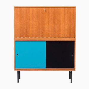 Teak Secretary Desk with Colored Doors, 1960s