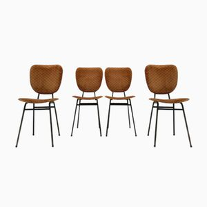 Black-Lacquered Tubular Steel Chairs, 1950s, Set of 4