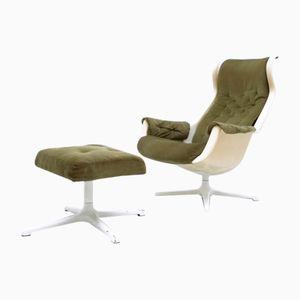 Vintage Galaxy Chair & Ottoman by Alf Svensson & Yngve Sanström for Dux