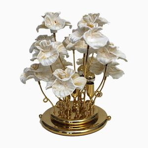 Vintage Brass Table Lamp with Glass Flowers from Murano, 1980s